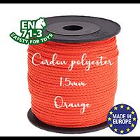 Fil / Cordon / Cordelette polyester pour attache-tétine 1,5mm - ORANGE