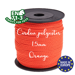 Fil / Cordon / Cordelette polyester pour attache-tétine 1,5mm - ORANGE