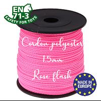 Fil / Cordon / Cordelette polyester pour attache-tétine 1,5mm - ROSE FLASH