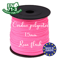 Fil / Cordon / Cordelette polyester pour attache-tétine 1,5mm - ROSE FLASH