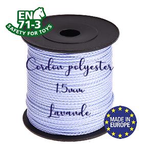 Fil / Cordon / Cordelette polyester pour attache-tétine 1,5mm - LAVANDE