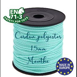 Fil / Cordon / Cordelette polyester pour attache-tétine 1,5mm - MENTHE