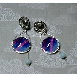 Boucles d'oreille clous Goutte mosaïque bleue et rose