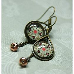 Boucles d'oreille Azulejos en mint et bronze