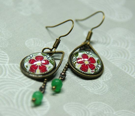 Boucles d'oreille Azulejos à la fleur rouge