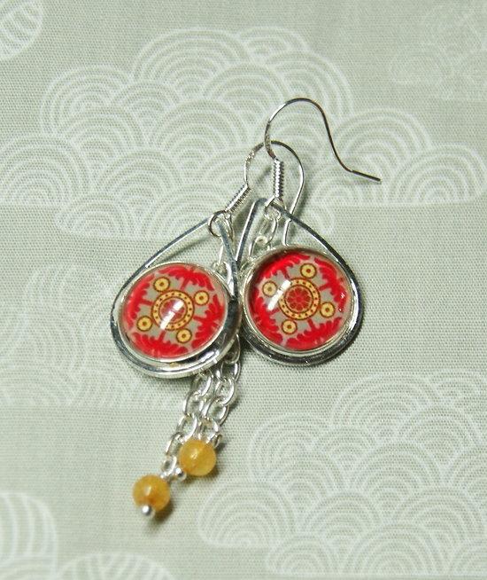 Boucles d'oreille Azulejos en rouge, taupe, jaune et argenté