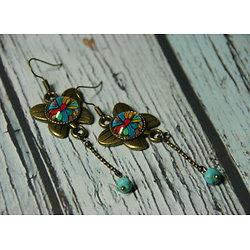 Boucles d'oreille Papillons fleurs multicolores
