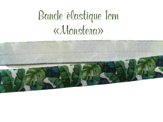 Bande élastique 1cm - monstera - coupon de 40cm ou 50cm