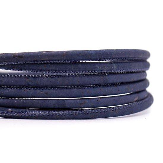 Cordon rond en liège naturel bleu marine 5mm