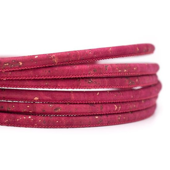 Cordon rond en liège naturel rouge 5mm