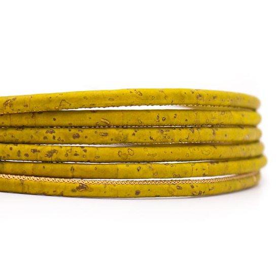 Cordon rond en liège naturel olive 5mm
