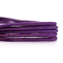 Cordon rond en liège naturel violet 3mm