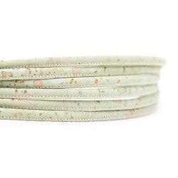 Cordon rond en liège naturel vert tendre 3mm