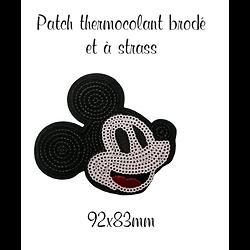 Patch thermocollant brodé à strass Mickey 92x83mm