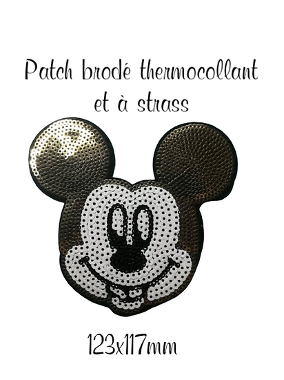 Patch thermocollant brodé à strass Mickey 123x117mm