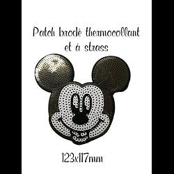 Patch thermocollant brodé à strass Mickey 123x117mm