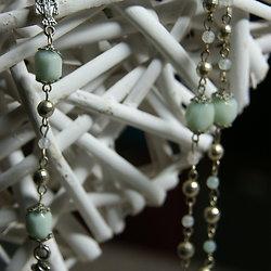 Chapelet catholique en métal argenté et amazonite
