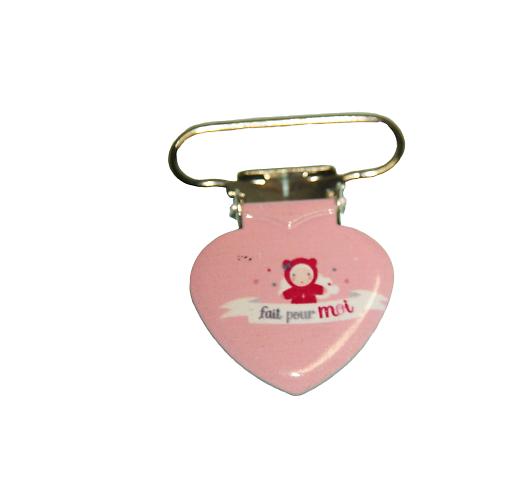 """Clip coeur illustré en métal pour attache-tétine """"Fait pour moi"""""""