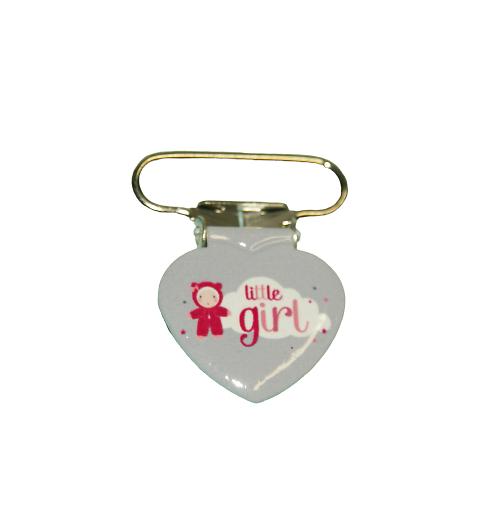 """Clip coeur illustré en métal pour attache-tétine """"Little girl"""""""