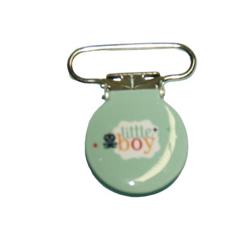"""Clip rond illustré en métal pour attache-tétine """"Little boy"""""""