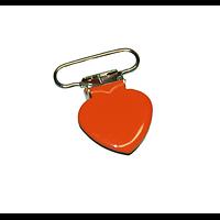 Clip coeur uni orange en métal pour attache-tétine