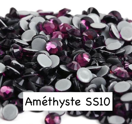 100 strass hotfix à facettes Améthyste - 2,7-2,9mm/SS10