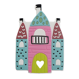 Anneau de dentition château multicolore en silicone alimentaire sans BPA 65x100mm