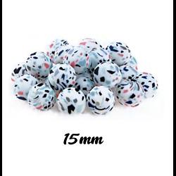 "Perle ronde imprimée blanc/multicolore ""Terrazzo"" en silicone alimentaire sans BPA 15mm"