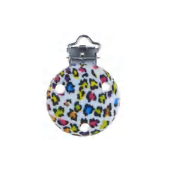 Clip rond imprimé léopard multicolore / blanc 35mm