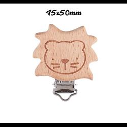 Clip en bois naturel gravé - lion