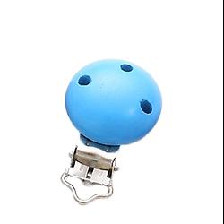 Clip en métal et bois bleu turquoise pour attache-tétine 29x46mm