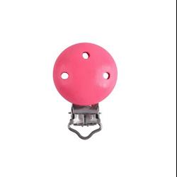 Clip en métal et bois rose bonbon pour attache-tétine 29x46mm
