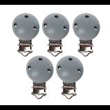 Clip en métal et bois gris pour attache-tétine 29x46mm