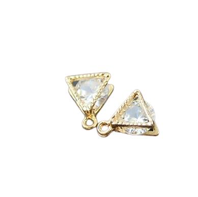 Breloque triangle or et cristal 9x10mm