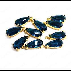 Breloque goutte de cristal à facettes et serti doré 16x8mm - bleu Montana
