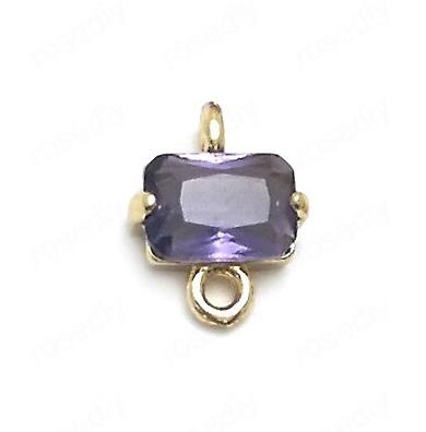 Petit connecteur rectangulaire en cristal à facettes et serti doré 24k violet foncé - 8x10mm