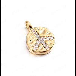 Petit pendentif Peace & Love en cristal et métal doré 24k - 9x12mm