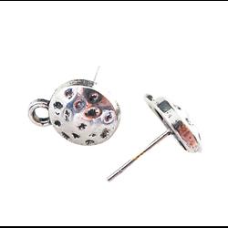 Paire de clous en métal argenté martelés 10,5mm