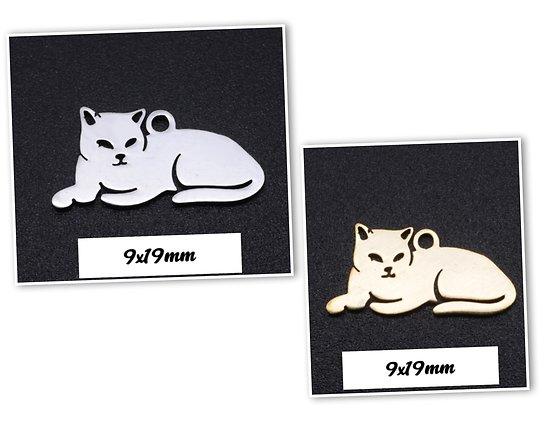 Breloque pendentif chat allongé en acier inoxydable 9x19mm