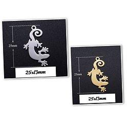 Breloque pendentif lézard / margouillat / gecko en acier inoxydable 25x13mm