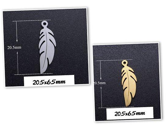 Breloque plume en acier inoxydable 20,5x6,5mm