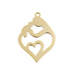 Breloque / pendentif coeur maternité en acier inoxydable doré 24x17mm