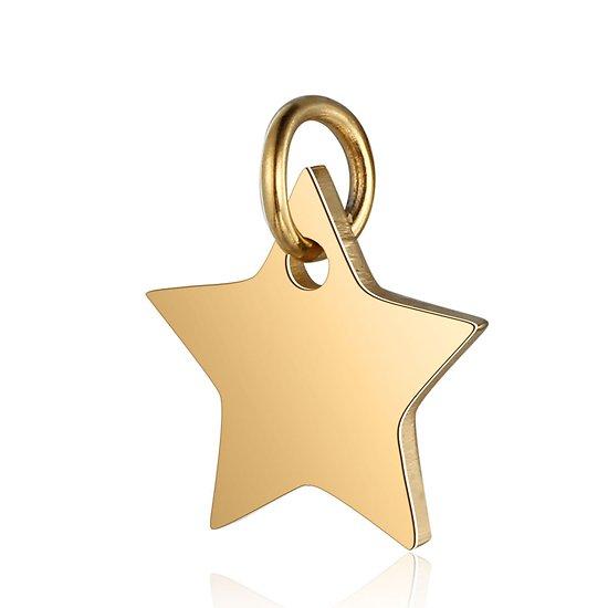 Breloque étoile à 5 branches en acier inoxydable doré 12x13mm