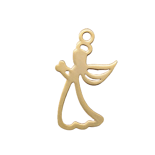 Breloque angelot en acier inoxydable doré 18x10mm