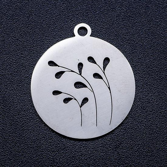 Breloque médaillon rond et herbes en acier inoxydable argenté 18x20mm