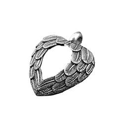 Grande breloque coeur ailé évidé en métal argenté antique 31x27mm