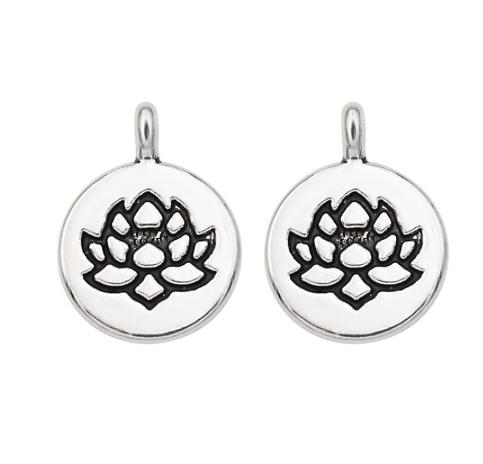 Pendentif médaillon fleur de lotus en métal argenté 19x15mm