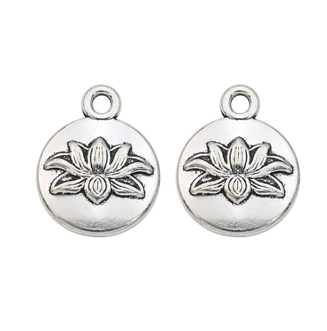 2 breloques rondes à la fleur de lotus en métal argenté 13x16mm
