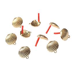 Paire de clous d'oreille à compléter coquillage en métal doré 17x17mm