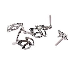 Paire de clous d'oreille à compléter feuillage évidé en métal argenté 13x22mm